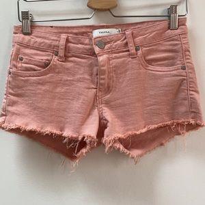 Pink Talula the OC Frayed Distressed Denim Shorts